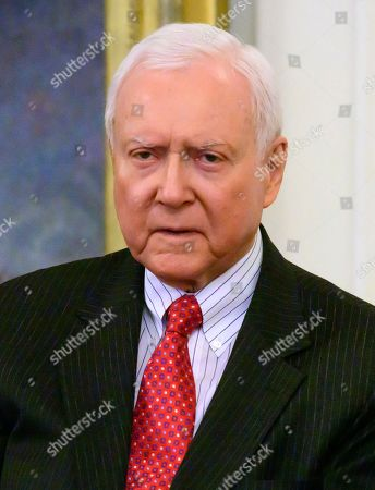 United States Senator Orrin Hatch (Republican of Utah) as President Trump makes remarks prior to receiving the Presidential Medal of Freedom during a ceremony in the East Room of the White House in Washington, DC. The award is the nation's highest civilian honor and is awarded by the President to individuals who made meritorious contributions to the United States.
