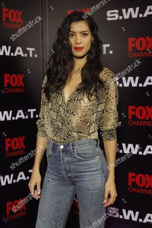 Stephanie Sigman poses during the presentation of the new season of the US TV series 'S.W.A.T.', in Mexico City, Mexico, 17 November 2018.