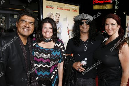 "George Lopez,  Ann Serrano, Saul ""Slash"" Hudson and wife Perla"