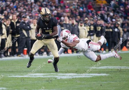 Stock Photo of Purdue wide receiver Isaac Zico (7) runs with the ball after the catch as Wisconsin defensive back Rachad Wildgoose (5) pursues during NCAA football game action between the Wisconsin Badgers and the Purdue Boilermakers at Ross-Ade Stadium in West Lafayette, Indiana. Wisconsin defeated Purdue 47-44 in triple overtime