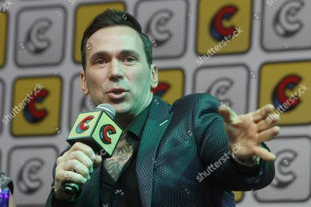 Jason David Frank speaks in a forum during the second day of the Comic Con in Medellin, Colombia, 17 November 2018. Frank is known as 'Tommy Oliver', the Green Ranger in the series Power Rangers.