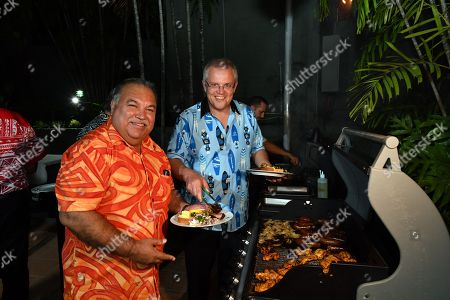 Narau's President Baron Waqa (L) and Australia's Prime Minister Scott Morrison at a barbeque for Pacific Islands leaders at the Australian High Commission after the 2018 Asia-Pacific Economic Cooperation (APEC) forum in Port Moresby, Papua New Guinea, 18 November 2018.