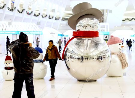 Christmas decorations at The Oculus World Trade Center, New York