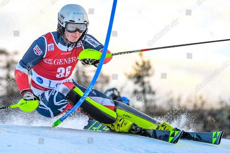Laurie Taylor of Britain clears a gate during the first run of the Men's Slalom race at the FIS Alpine Skiing World Cup in Levi, Finland, 18 November 2018.