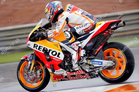 Spanish MotoGP rider Dani Pedrosa of the Repsol Honda Team in action during the Motorcycling Grand Prix of Valencia at Ricardo Tormo Circuit in Cheste, outside Valencia, eastern Spain, 18 November 2018.