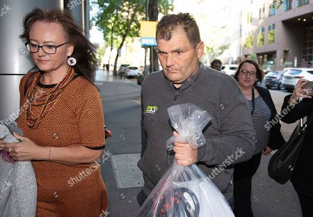 Stock Image of Michael Rogers is seen leaving Melbourne Magistrates Court, in Melbourne, Victoria, Australia, 17 November 2018 (issued 18 November 2018). Michael Rogers, 46, now known as 'Trolley Man' after he rammed the Bourke Street attacker with a trolley last week, has been granted bail on burglary and theft offences.
