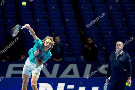 Alexander Zverev of Germany during the practice session ahead of his finals match watched by coach Ivan Lendl during the Nitto ATP Tour Finals at the O2 Arena, London