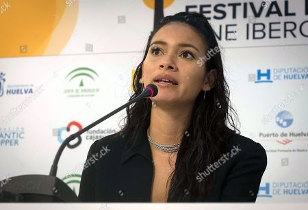Juana Burga attends a press conference to presentthe movie 'Los ultimos' (lit.: The last) at the Ibero-American Film Festival in Huelva, southern Spain, 18 November 2018. The festival runs 16 to 23 November.