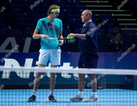 Alexander Zverev (GER) practices ahead of the Final against Novak Djokovic (SRB) with his coach Ivan Lendl