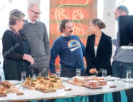 Rufus Hound, Mark Gatiss, Prue Leith and Antonia Thomas