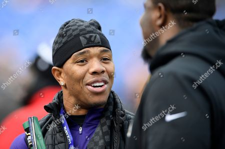 Stock Photo of Week 13. Former Baltimore Raven Ray Rice stands on the Ravens sideline before an NFL football game between the Ravens and the Cincinnati Bengals, in Baltimore
