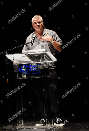 Stock Photo of Oscar nominated filmmaker Gary Ross receives the Lifetime Achievement Award at a tribute screening of his 1998 award-winning film, Pleasantville at the 33rd Annual Fort Lauderdale International Film Festival at Bailey Hall, at Broward College in Davie, Florida on Saturday, Nov. 18, 2018