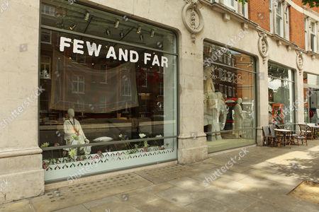 Exterior of Priscilla Carluccio's shop 'Few and Far' at 242 Brompton Road, London SW3
