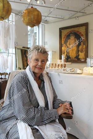 Priscilla Carluccio at her shop 'Few and Far' at 242 Brompton Road, London SW3