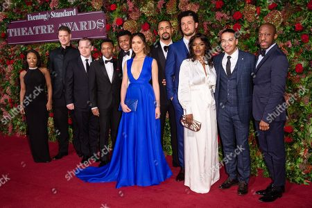 The cast of musical Hamilton including Michael Jibson, Jason Pennycooke, Tarinn Callender, Christine Allado, Obioma Ugoala, Rachel John, Jamael Westman, Cleve September and Giles Terera