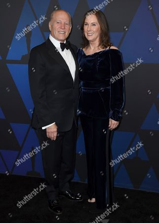 Frank Marshall, Kathleen Kennedy. Frank Marshall, left, and Kathleen Kennedy arrive at the Governors Awards, at the Dolby Theatre in Los Angeles