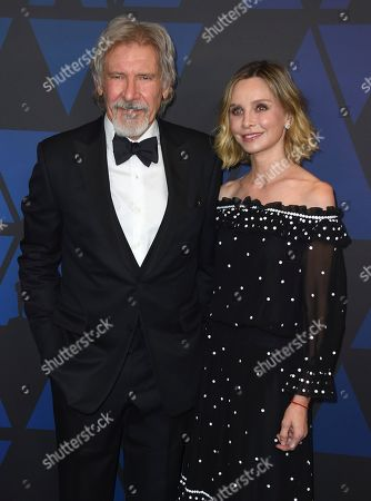 Harrison Ford, Calista Flockhart. Harrison Ford, left, and Calista Flockhart arrive at the Governors Awards, at the Dolby Theatre in Los Angeles