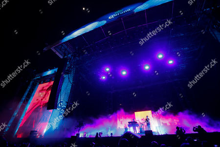 Stock Photo of Andrew VanWyngarden of MGMT performs on the second day of Corona Capital music festival in Mexico City