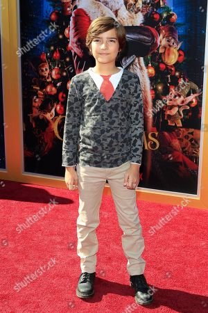 Elias Harger arrives for The Christmas Chronicles' Premiere at the Bruin Theater in Westwood, Los Angeles, California, USA, 18 November 2018. The movie will be released in the US on 22 November 2018.