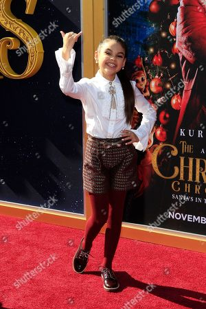 Stock Photo of Ariana Greenblatt arrives for The Christmas Chronicles' Premiere at the Bruin Theater in Westwood, Los Angeles, California, USA, 18 November 2018. The movie will be released in the US on 22 November 2018.