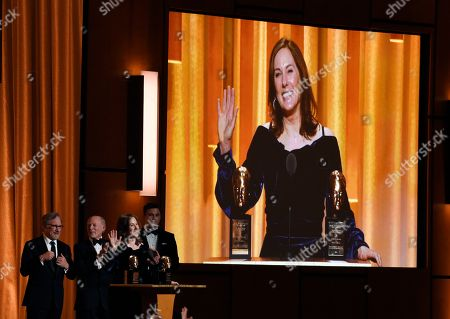 Kathleen Kennedy is pictured on a video screen after she and her husband Frank Marshall were given the Irving G. Thalberg Memorial Award at the 2018 Governors Awards at The Ray Dolby Ballroom, in Los Angeles. Kennedy is the first woman to receive the award