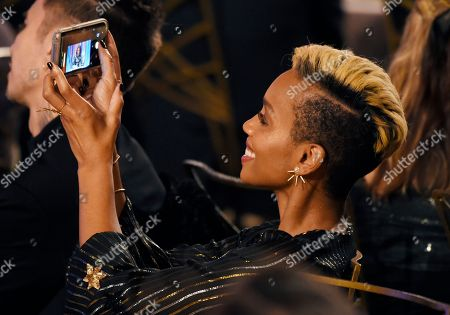 Anika Noni Rose takes a picture of honorary Oscar recipient Cicely Tyson as she makes her acceptance speech at the 2018 Governors Awards at The Ray Dolby Ballroom, in Los Angeles