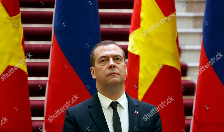 Russia's Prime Minister Dmitri Medvedev attends a news conference with his Vietnamese counterpart Nguyen Xuan Phuc (not pictured) at the Government Office in Hanoi, Vietnam, 19 November 2018.