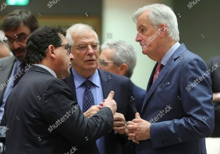 (L-R) Spanish State Secretary for the European Union Luis Marco Aguiriano Nalda, Spanish Foreign Affairs minister Josep Borrel and Michel Barnier, the European Chief Negotiator of the Task Force for the Preparation and Conduct of the Negotiations with the United Kingdom under Article 50 attend the Article 50 EU general affairs council in Brussels, Belgium, 19 November 2018. British prime minister Theresa May will travel to Brussels this week ahead of the upcoming Brexit summit to meet European Commission president Jean-Claude Juncker.