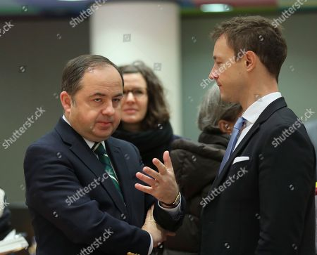 Konrad Szymanski, Polish European affairs minister and Gernot Blumel, Austrian Minister in Charge of EU affairs (R) attend the Article 50 EU general affairs council in Brussels, Belgium, 19 November 2018.  British prime minister Theresa May will travel to Brussels this week ahead of the upcoming Brexit summit to meet European Commission president Jean-Claude Juncker.