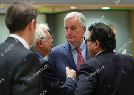 (L-R) Spanish Foreign Affairs minister Josep Borrel, Michel Barnier, the European Chief Negotiator of the Task Force for the Preparation and Conduct of the Negotiations with the United Kingdom under Article 50 and Spanish State Secretary for the European Union Luis Marco Aguiriano Nalda attend the Article 50 EU general affairs council in Brussels, Belgium, 19 November 2018. British prime minister Theresa May will travel to Brussels this week ahead of the upcoming Brexit summit to meet European Commission president Jean-Claude Juncker.