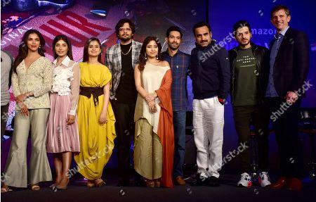 (L to R) Actor Shriya Pilgaonkar, Harshita Gaur, Rasika Duggal, Ali Fazal, Shweta Tripathi, Vikrant Massey, Pankaj Tripathi, Divyenndu Sharma and Tim Leslie (Vice President, Amazon Prime Video International)