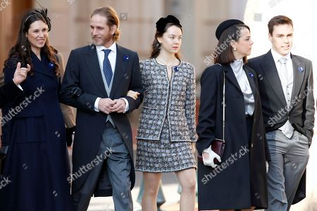 From left to right, Tatiana Casiraghi, her husband Andrea Casiraghi, niece of Prince Albert II of Monaco, Camille Gottlieb, Princess Stephanie of Monaco's daughter Pauline Ducruet, and son Louis Ducruet, arrive at the Monaco cathedral before ceremonies marking the National Day in Monaco, Monday, Nov.19, 2018