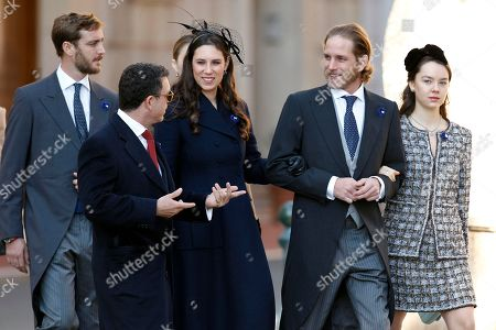 From left to right, Princess Caroline of Hanover' son Pierre Casiraghi, Tatiana Casiraghi, her husband Andrea Casiraghi, and niece of Prince Albert II of Monaco, Camille Gottlieb, arrive at the Monaco cathedral before ceremonies marking the National Day in Monaco, Monday, Nov.19, 2018