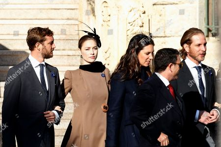 From left to right, Princess Caroline of Hanover' son Pierre Casiraghi, his wife Beatrice Borromeo, Tatiana Casiraghi, and her husband Andrea Casiraghi, arrive at the Monaco cathedral before ceremonies marking the National Day in Monaco, Monday, Nov.19, 2018