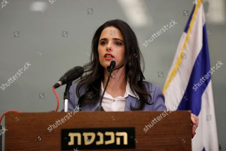 Israeli Minister of Justice Ayelet Shaked speaks during a press conference in the Israeli Knesset, (Israeli Parliament), in Jerusalem, 19 November 2018. Media reports state that the Netanyahu government will not go to early elections after Naftali Bennett and Ayelet Shaked of the Jewish Home Party decided not to resign from the coalition. The elections are scheduled to take place in November 2019