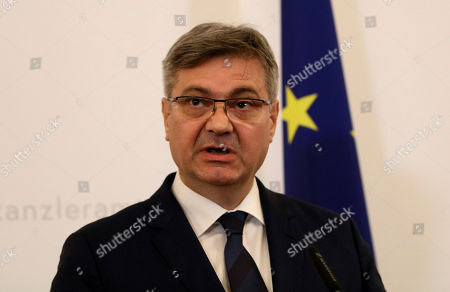 Chairman of the Council of Ministers of Bosnia and Herzegovina, Denis Zvizdic addresses the media during a press conference at the federal chancellery in Vienna, Austria