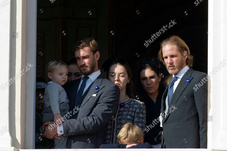 From left to right, Princess Caroline of Hanover' son Pierre Casiraghi, niece of Prince Albert II of Monaco, Camille Gottlieb, Tatiana Casiraghi and her husband Andrea, attend from the Monaco palace to the the National Day in Monaco, Monday, Nov.19, 2018