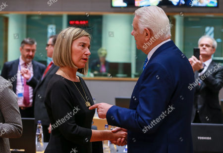 High Representative of the EU for Foreign Affairs and Security Policy, Federica Mogherini  (L) and Romanian Foreign Minister Teodor-Viorel Melescanu  at the start of a EU foreign affairs Council (FAC) at the European Council in Brussels, Belgium, 19 November 2018.  The foreign minister discuss issues related to Central Asia, Bosnia-Herzegovina, Iran and Yemen.  The foreign minister discuss issues related to Central Asia, Bosnia-Herzegovina, Iran and Yemen.