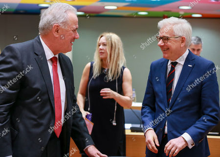 Commissioner for International Cooperation and Development of the European Union Neven Mimica (L) and Polish Foreign Minister Jacek Czaputowicz at the start of an EU foreign affairs Council (FAC) at the European Council in Brussels, Belgium, 19 November 2018. The foreign minister discuss issues related to Central Asia, Bosnia-Herzegovina, Iran and Yemen.
