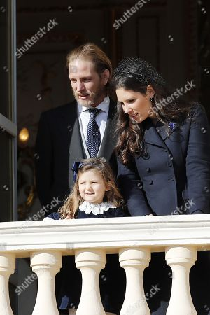 Andrea Casiraghi (L) with Tatiana Santo Domingo (R) and their daughter India Casiraghi (C) attend the Army Parade, as part of the official celebrations marking the principality's National Day at the Monaco Palace, in Monaco, 19 November 2018. The National Day of Monaco is also known as The Sovereign Prince's Day.