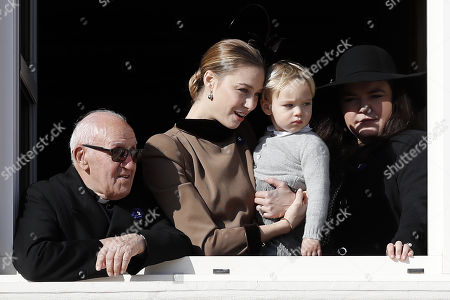 Beatrice Borromeo (C) attends the Army Parade, as part of the official celebrations marking the principality's National Day at the Monaco Palace, in Monaco, 19 November 2018. The National Day of Monaco is also known as The Sovereign Prince's Day.