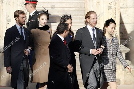 Pierre Casiraghi (L), his wife Beatrice Borromeo (2-L), Andrea Casiraghi (2-R), his wife Tatiana Santo Domingo (C) and Princess Alexandra of Hanover (R) attend the Army Parade, as part of the official celebrations marking the principality's National Day at the Monaco Palace, in Monaco, 19 November 2018. The National Day of Monaco is also known as The Sovereign Prince's Day.