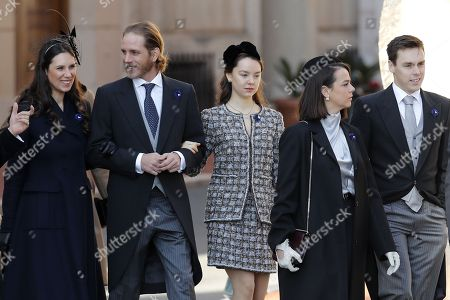 Andrea Casiraghi (2-L), his wife Tatiana Santo Domingo (L), Princess Alexandra of Hanover (C), Louis Ducruet (R) and Pauline Ducruet (2-R) attend the Army Parade, as part of the official celebrations marking the principality's National Day at the Monaco Palace, in Monaco, 19 November 2018. The National Day of Monaco is also known as The Sovereign Prince's Day.