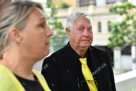 Victim Annette Mason's sister Linda Mason (L) and father Mick Mason (R) are seen during a media conference outside the Brisbane Coroners Court in Brisbane, Queensland, Australia, 19 November 2018. The Coroner has reopened the inquest into the death of Annette Mason who was 15-year-old when she was bludgeoned to death in her family's Toowoomba home in November 1989.