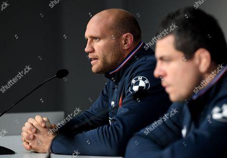Assistant coach of France Julien Bonnaire talks to the press