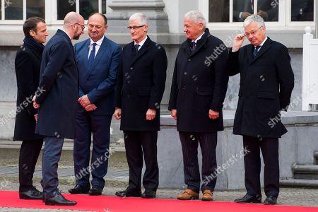 Charles Michel, Emmanuel Macron, Willy Borsus, Geert Bourgeois, Francois Bellot, Didier Reynders