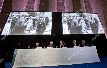 Stock Image of From left to right, Commissioner for Education and Academia of the World Jewish Congress Jean de Gunzburg, Governing Board Chair of the World Jewish Congress David de Rothschild, UNESCO'S Director-General Audrey Azoulay, Word Jewish Congress President Ronald S. Lauder and CEO and Vice President of the World Jewish Congress Robert Singer sit under two giant screen during the presentation of the website to counter Holocaust denial and anti-Semitism at the UNESCO headquartered in Paris, France, . The UN's culture and education agency is teaming up with the World Jewish Congress to launch a website to counter Holocaust denial and anti-Semitism