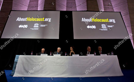 Stock Photo of From left to right, Commissioner for Education and Academia of the World Jewish Congress Jean de Gunzburg, Governing Board Chair of the World Jewish Congress David de Rothschild, UNESCO'S Director-General Audrey Azoulay, Word Jewish Congress President Ronald S. Lauder and CEO and Vice President of the World Jewish Congress Robert Singer sit under two giant screen during the presentation of the website to counter Holocaust denial and anti-Semitism at the UNESCO headquartered in Paris, France, . The UN's culture and education agency is teaming up with the World Jewish Congress to launch a website to counter Holocaust denial and anti-Semitism