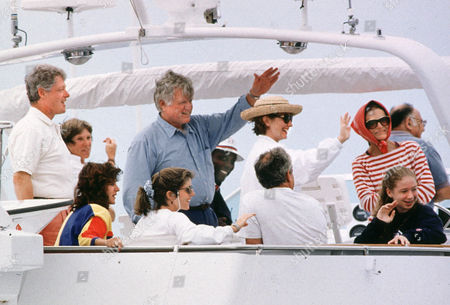 President Bill Clinton, Ted Kennedy, Victoria Reggie Kennedy, Carolyn Kennedy, Vernon Jordan, Ed Schlossberg, Hillary Clinton, Jackie Kennedy, Chelsea Clinton, and Maurice Templesman