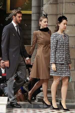 Pierre Casiraghi (L), Beatrice Borromeo (C) and Princess Alexandra of Hanover (R) arrive at the cathedral to attend a mass as part of the celebrations marking Monaco's National Day, in Monaco, 19 November 2018. The National Day of Monaco is also known as The Sovereign Prince's Day.
